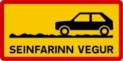 Warnung vor Straße, nur mit geringer Geschwindigkeit befahrbar