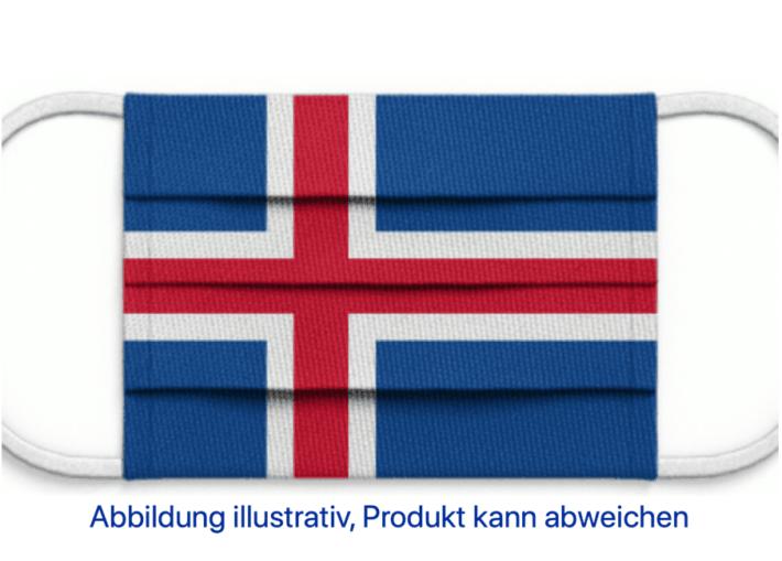 Mund-Nasen-Bedeckung mit aufgedruckter Island-Flagge